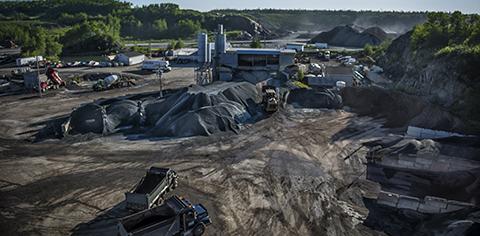 aerial view of asphalt site