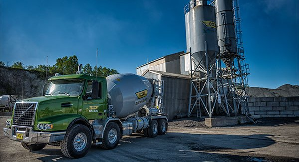 Dartmouth concrete plant with ocean concrete truck
