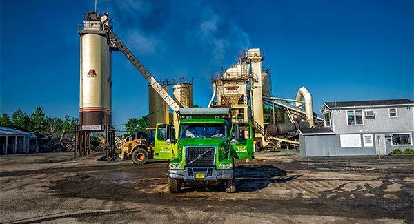ocean asphalt plant in dartmouth with an ocean truck and silos