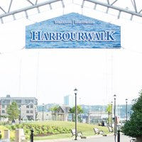 Harbour Walk sign on waterfront in downtown Halifax